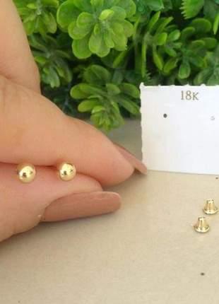 Brinco 4mm de bolinha de ouro 18k