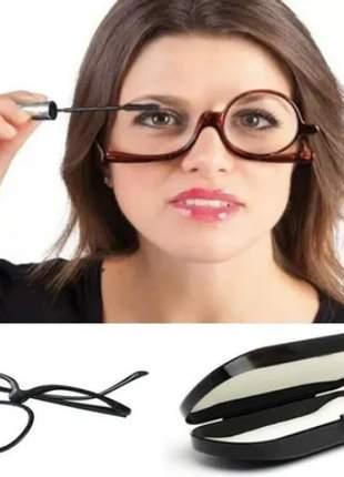 Óculos p/ maquiagem + estojo makeup lente giratória