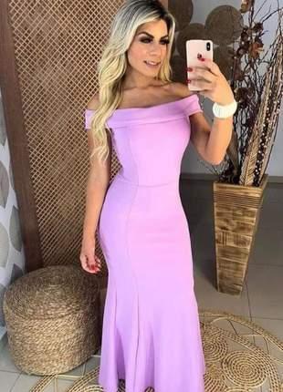 Vestido longo lavanda de festa, casamento, madrinha modelo ombro a ombro