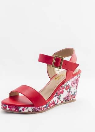 Sandália anabela debelly vermelha com floral
