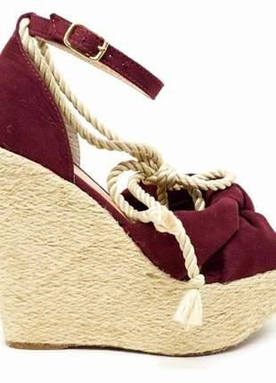Sandália anabela feminina salto corda fechada