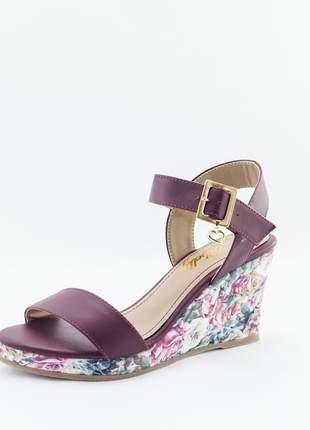 Sandália anabela debelly marsalla com estampa floral
