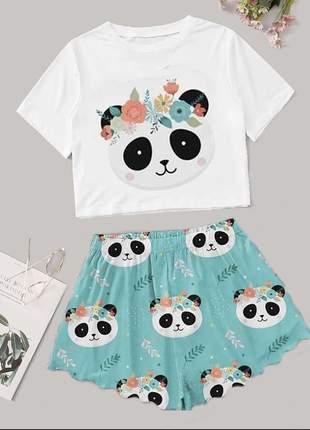 Pijama cropped personagens ondinha baby doll sensual feminino roupa de dormir pijama panda