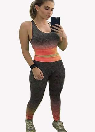 Conjunto fit roupas academia fitness crossfit fem verde tam unico