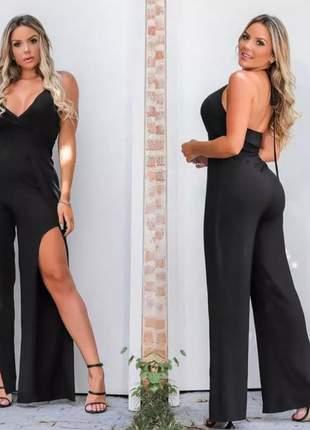 Macacão fenda longo moda feminina blogueira alça fina