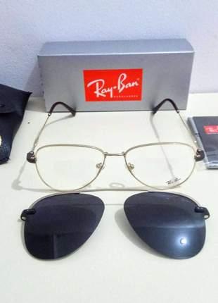 Óculos clip on 2 em 1 ray ban aviador solar + armação para gráu unissex 2 cores disponível