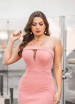 Vestido midi decote com tuli moda feminina blogueira