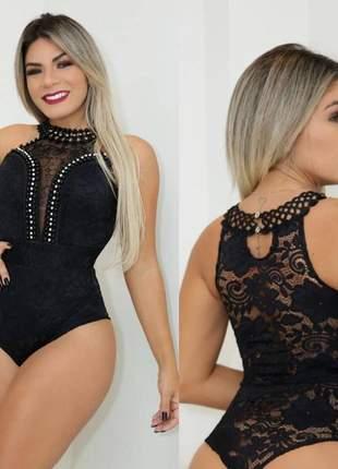 Body renda decote pérola moda feminina blogueira regata