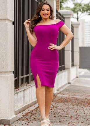 Vestido midi básico fenda na perna moda feminina blogueira