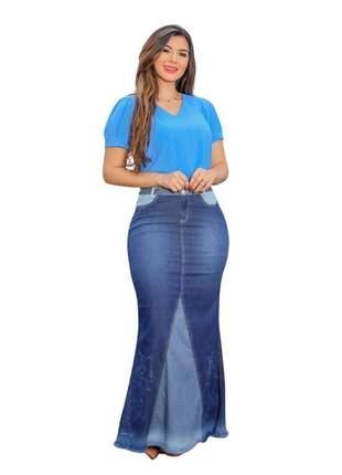 Saia longa jeans bordada joyaly moda evangélica feminino