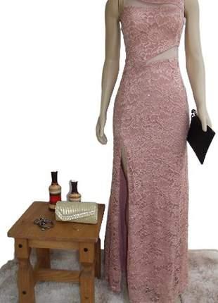 Vestido feminino longo festa renda rosê casamento civil madrinha
