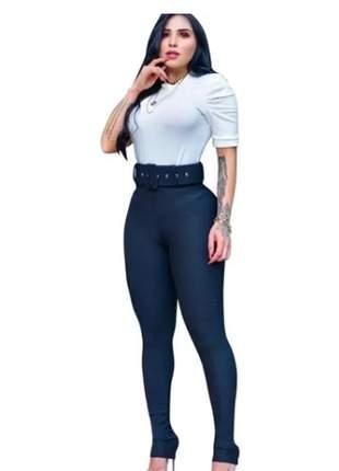 Calça legging montaria slim fit com cinto cintura alta