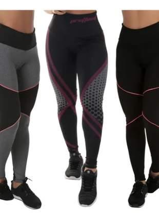 Kit 3 leggings fitness academia sem transparência 3 modelos
