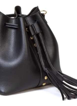 Bolsa saco feminina preto transversal preta couro ecológico