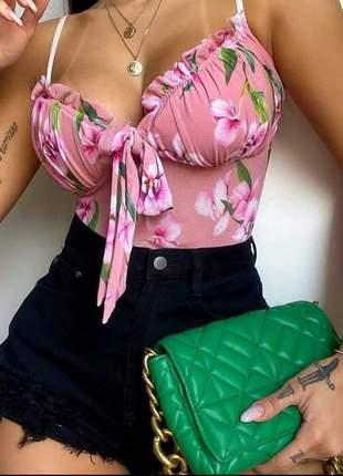 Body blusa blusinha t-shirt de tuli com poliamida moda feminina blogueira com alça