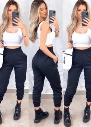 Kit 2 calças moletom feminina jogger slim básica tendência, leia o anúncio
