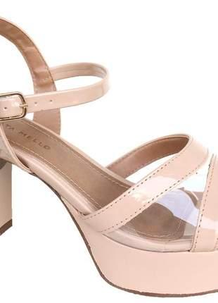 Sandália meia pata feminina nude verniz vinil renata mello 776769661