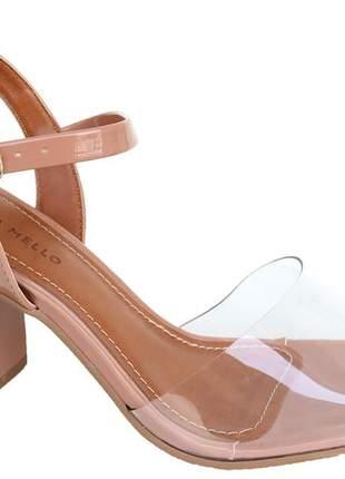 Sandália nude verniz salto bloco vinil feminino renata mello 805168853
