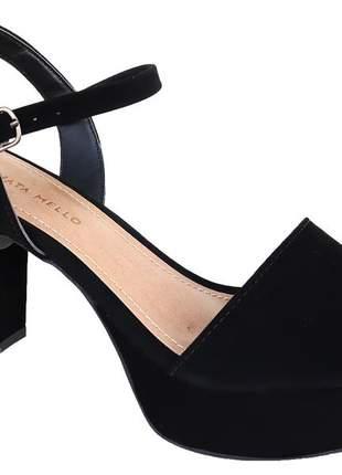 Sandália meia pata preta feminina nobuck renata mello 776760613