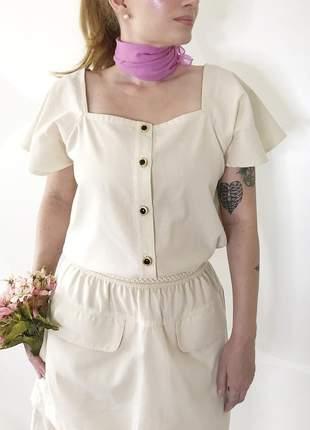Blusa de percal com botões vintage