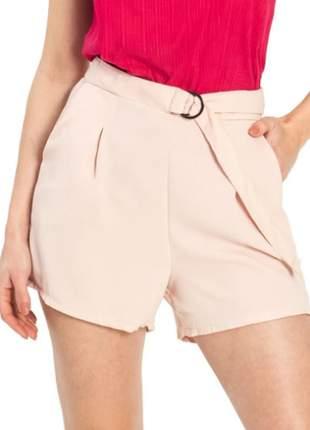 Short feminino alfaiataria rosa claro  casual leve tendência e137611144
