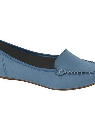 Sapato Feminino Mocassim Moleca Camurça Flex Azul 5252.207