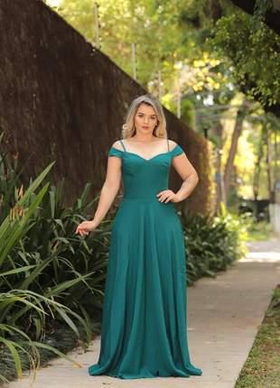 Vestido de festa serenity e verde musgo madrinha de casamento formatura eventos