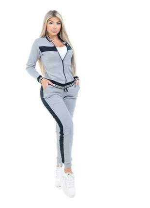 Conjunto moletinho feminino moletom ribana zíper blusa calça