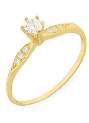Anel solitário em ouro 18k zircônia, anel de noivado ouro 18k