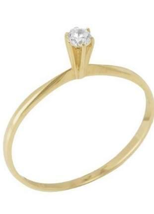 Anel solitário em ouro 18k zirconia, anel de noivado ouro 18k