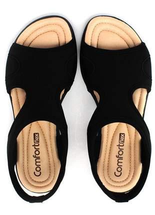 Sandália lycra preto feminino comfortflex  2151402