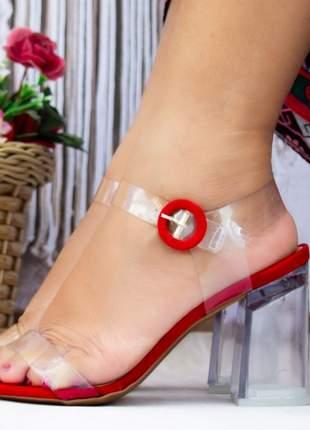 Sandália vermelho salto grosso transparente translúcida