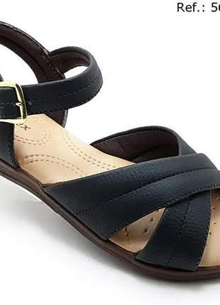 Sandália feminina confort ortopédica em x  preta