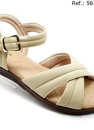 Sandália feminina confort ortopédica em x creme