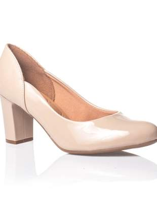 Sapato Salto Grosso Vizzano Verniz Nude 1288.101
