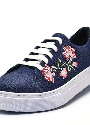 Tênis feminino casual jeans bordado  flores