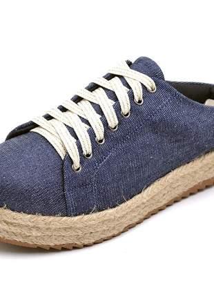 Tênis mule feminino casual flat form jeans corda