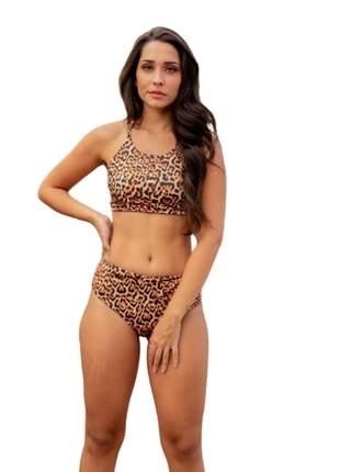 Biquini hot pants cós alto frente única onça moda praia 202