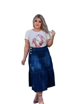 Saia jeans midi rodada destroyed duas marias plus size