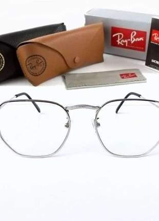 Armação óculos ray ban hexagonal para gráu rb 3548 unissex 3 cores disponivel