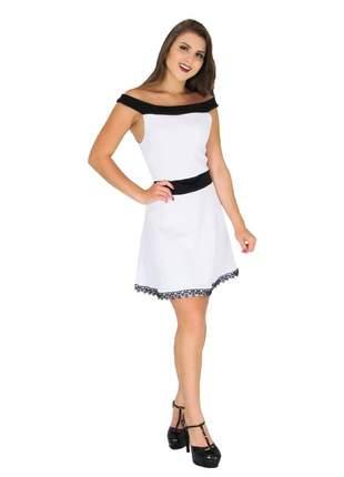 Vestido curto feminino de laço princesa festa bojo. ref:021 (branco)