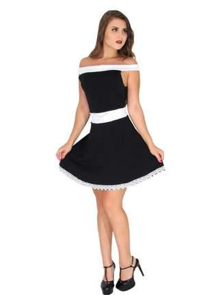 Vestido curto feminino de laço princesa festa bojo. ref:021 (preto)