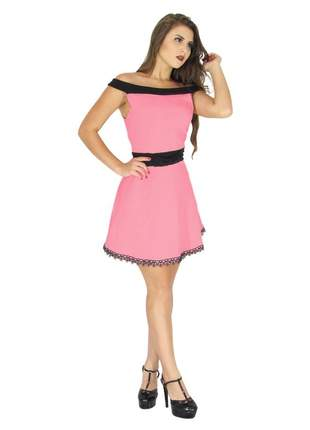 Vestido curto feminino de laço princesa festa bojo. ref:021 (rosa)