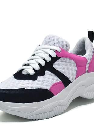 Tênis feminino multicolor caminhada esportivo rosa pink preto