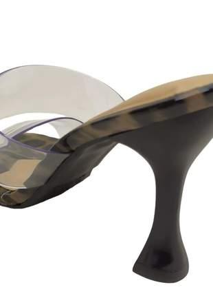 Sandália tamanco salto alto taça tira vinil transparente bico quadrado confort 34 ao 40