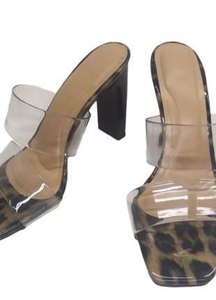 Tamanco sandália tira vinil salto apito 10 cm fashion confort mule sapatilha feminino