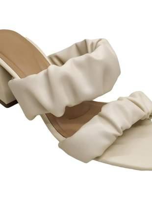 Tamanco feminino tira sanfonada confort salto bloco 6 cm sandália bico quadrado 34 a 40