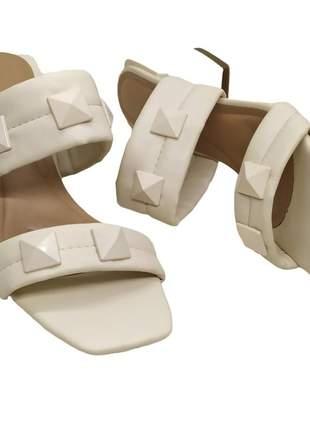 Tamanco feminino tira confort salto bloco médio 6 cm sandália bico quadrado 34 ao 40
