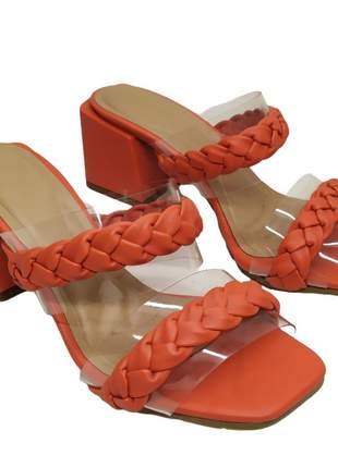 Tamanco feminino tira confort salto bloco 6 cm sandália bico quadrado 34 ao 40