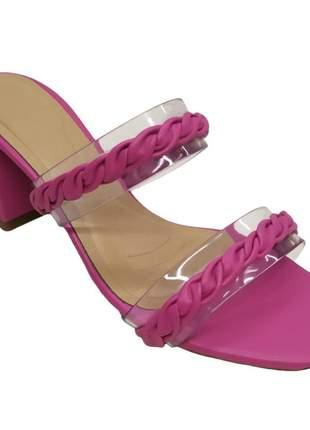 Tamanco feminino tira salto bloco 6 cm confort tamanco feminino sandália fashion  34 ao 40